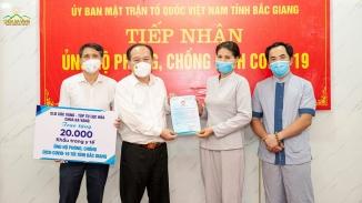 20.000 chiếc khẩu trang ủng hộ công tác phòng, chống dịch bệnh Covid-19 tại tỉnh Bắc Giang